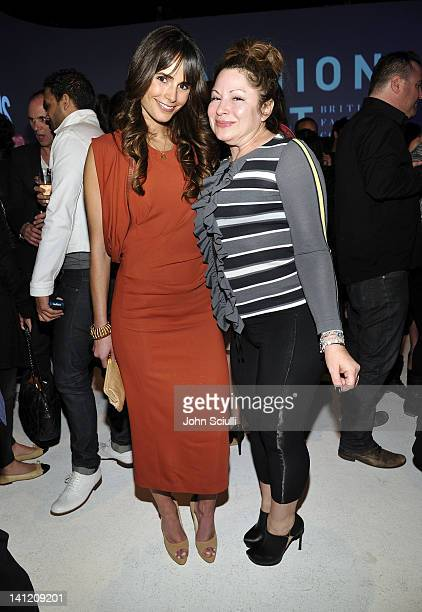 Jordana Brewster and Jessica Paster attend the British Fashion Council's LONDON Show ROOMS LA opening cocktail party at Smashbox Studios on March 12...