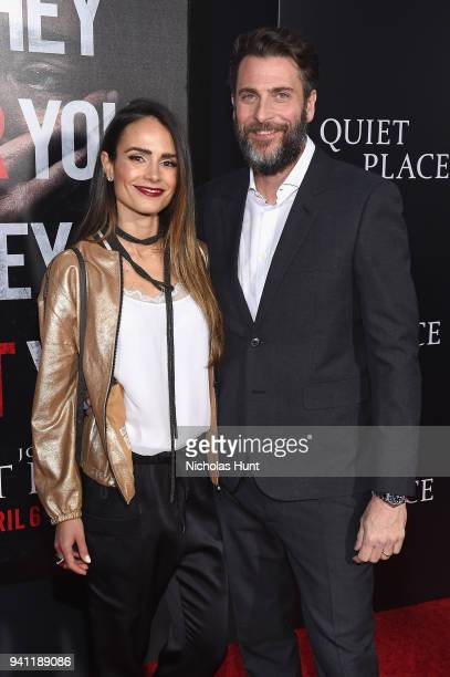 Jordana Brewster and producer Andrew Form attend the Paramount Pictures New York Premiere of 'A Quiet Place' at AMC Lincoln Square theater on April 2...