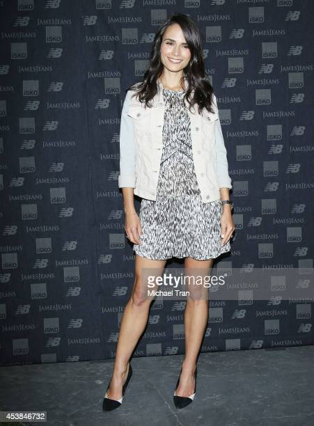 Jordana Brewster arrives at the dance party with New Balance and James Jeans powered by ISKO held at a private residence on August 19 2014 in Beverly...