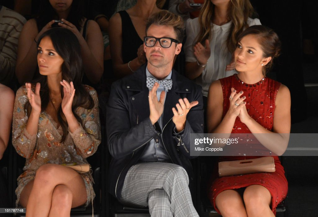 Jordana Brewster, Brad Goreski and Minka Kelly attend the Jenny Packham Runway Show during the Spring 2013 Mercedes-Benz Fashion Week at The Studio Lincoln Center on September 11, 2012 in New York City.