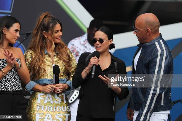 Jordana Brewster Michelle Rodriguez Maria Menounos and Vin Diesel speak onstage during Universal Pictures Presents The Road To F9 Concert and Trailer...