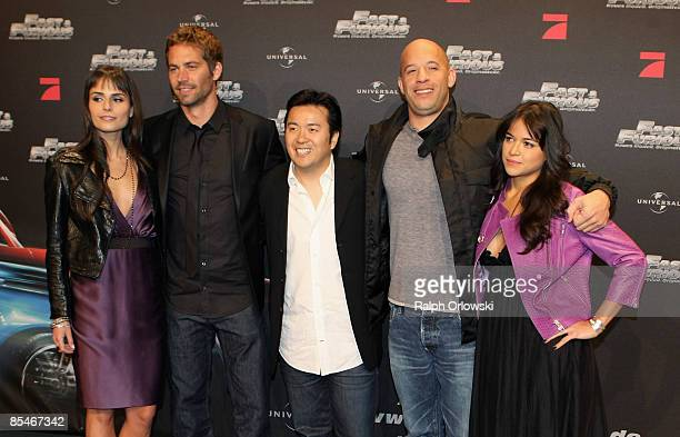 Jordana Brewster Paul Walker director Justin Lin Vin Diesel and Michelle Rodriguez arrive for the Europe premiere of Fast Furious on March 17 2009 in...