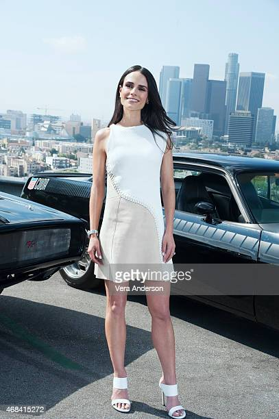 Jordana Brewster poses for a portrait at the 'Furious 7' Press Conference at Dodger Stadium on March 23 2015 in Los Angeles California