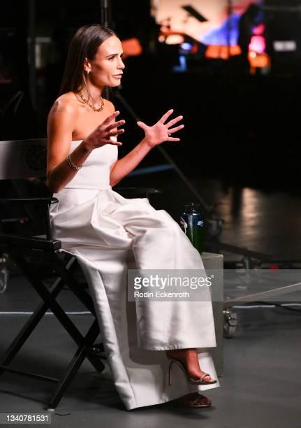 Jordana Brewster speaks during an interview at the F9 Fest event on the Universal Studios backlot celebrating F9: The Fast Saga on September 15, 2021...