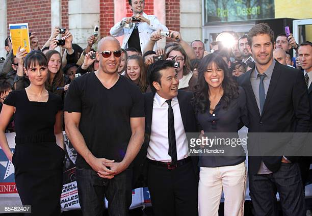 Jordana Brewster Vin Diesel Justin Lin Michelle Rodriguez and Paul Walker attend Fast Furious 4 Photocall at Lomme Kinepolis on March 18 2009 in...