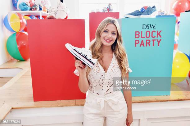 Jordana Schrager customizes DSW shoes at DSW Block Party hosted by Olympians Adam Rippon and Mirai Nagasu on June 27 2018 at Ramscale Studio in New...