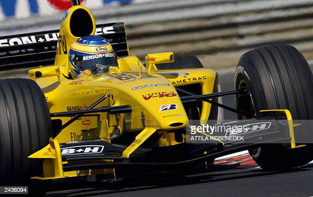 JordanFord Hungarian driver Zsolt Baumgartner steers his car on the Hungaroring racetrack near Budapest 23 August 2003 during the second qualifying...