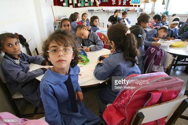 Jordanian and Iraqi students attend classes at the Shmeisani elementary school on August 28 2007 in Amman Jordan Ellen Sauerbery Assistant Secretary...