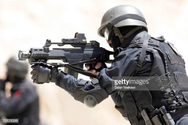 Jordanian anti terrorism squad soldiers shoot at the training ground in the desert camp of Yajouz outside of Amman April 26 Jordan The AntiTerrorism...