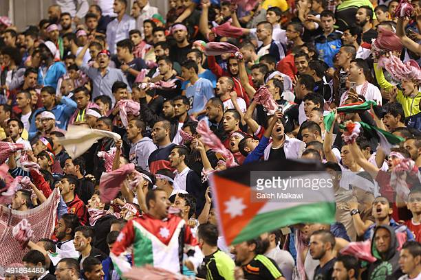 Jordanian fans support their national football team during the 2018 FIFA World Cup qualification match between Jordan and Australia Socceroos at...