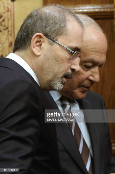 Jordanian Foreign Minister Ayman Safadi is seen during a joint conference with Arab League SecretaryGeneral Ahmed Aboul Gheit in the Jordanian...