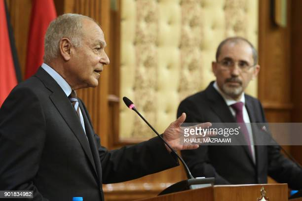 Jordanian Foreign Minister Ayman Safadi listens during a joint conference with Arab League SecretaryGeneral Ahmed Aboul Gheit in the Jordanian...
