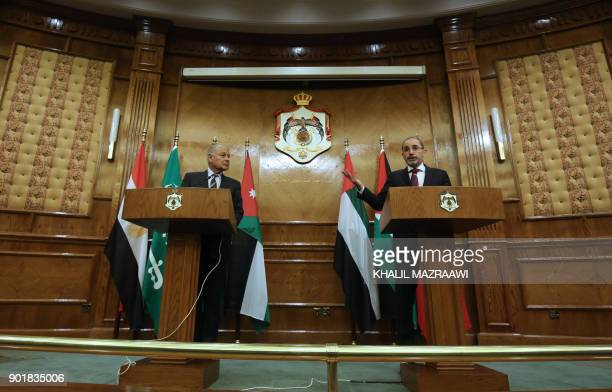 Jordanian Foreign Minister Ayman Safadi speaks during a joint conference with Arab League SecretaryGeneral Ahmed Aboul Gheit in the Jordanian capital...