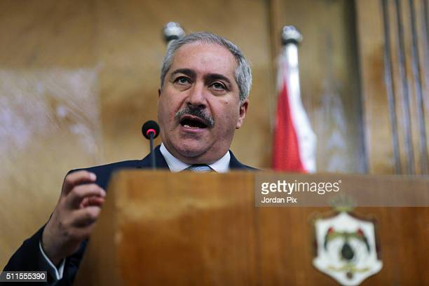 Jordanian Foreign Minister Nasser Judeh speaks during a press conference with Jordanian Foreign Minister Nasser Judeh on February 21 2016 in Amman...