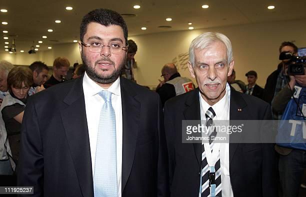 Jordanian Hasan Abdullah Ismaik new investor of football club TSV 1860 Muenchen and Dieter Schneider president of TSV 1860 Muenchen arrive for the...