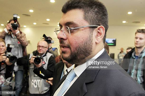 Jordanian Hasan Abdullah Ismaik new investor of football club TSV 1860 Muenchen arrives for the Second Bundesliga match between TSV 1860 Muenchen and...