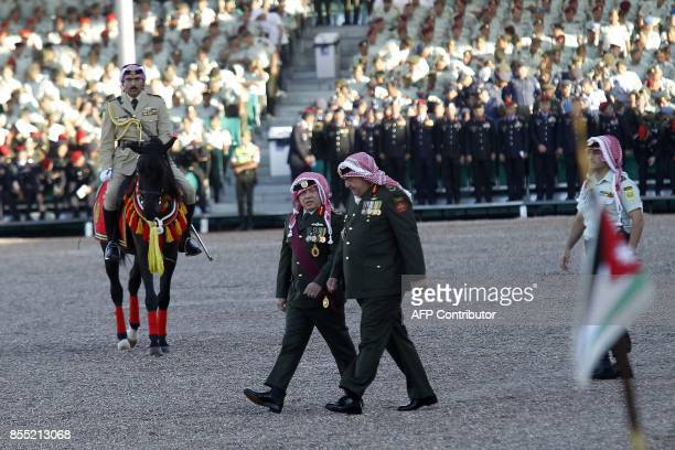 Jordanian King Abdullah II attends the annual Flag Parade event at AlRayah parade ground in the Royal Hashemite Court in the capital Amman on...