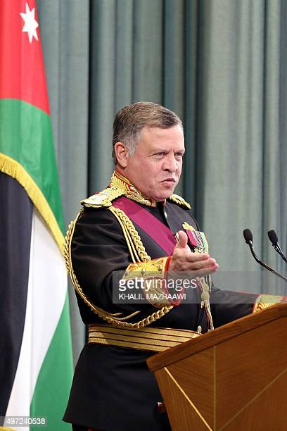 Jordanian King Abdullah II delivers a speech at the parliament on the occasion of the third regular session in Amman on November 15 2015 AFP PHOTO /...