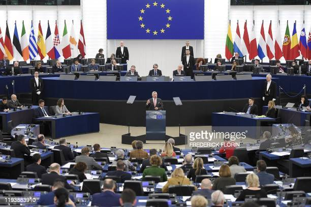 Jordanian King Abdullah II gestures as he delivers a speech at the European Parliament, on January 15 in Strasbourg, eastern France.