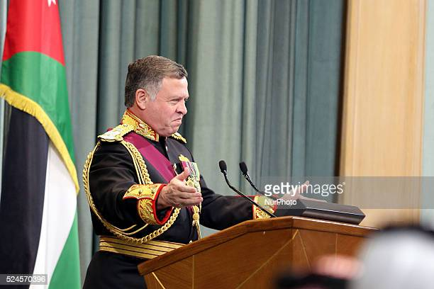 Jordanian King Abdullah II Speak at the parliament on the occasion of the third regular session in Amman on November 15 2015
