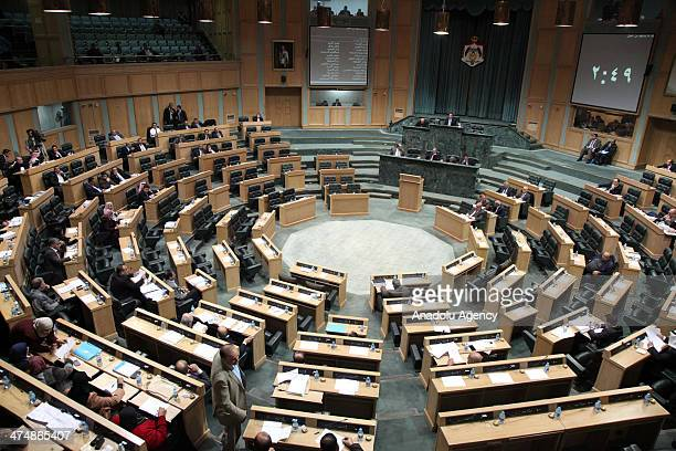 Jordanian lawmakers attend a session at the Jordanian Parliament on February 25 in Amman Jordan Thirty Jordanian lawmakers on Tuesday signed a...