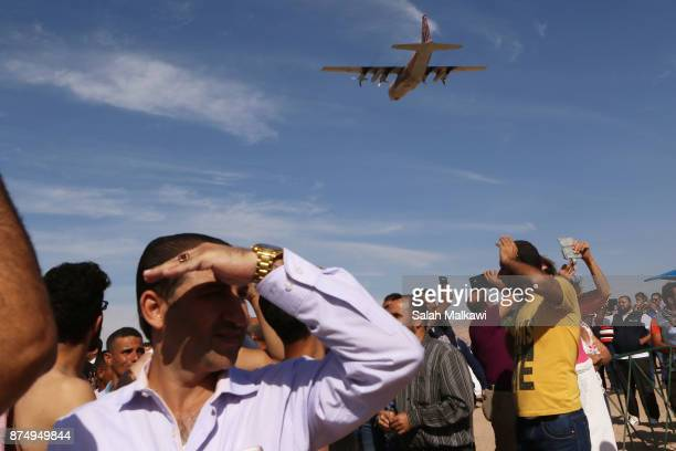 Jordanian military C130 Hercules plane peforms during a special celebration as Aqaba authorities in Jordan sink the body of a military transport C130...