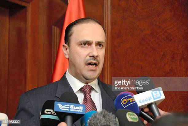 Jordanian Minister of State for Media Affairs and Communications Mohammad Momani speaks to media reporters on January 29 2015 in Amman Jordan Momani...