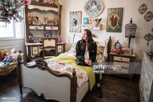 Jordanian National Defender Rozbahan Frej is sitting in her room in her familys house on April 1 in Amman Jordan Frej is one of the youngest players...