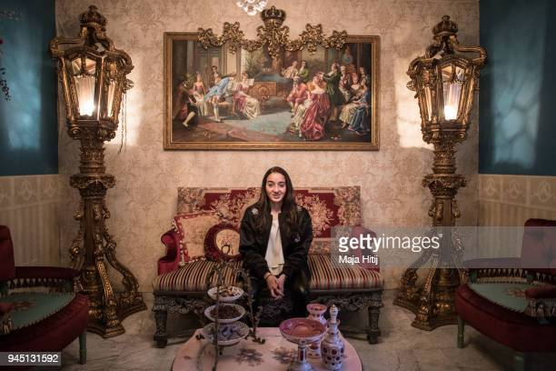 Jordanian National Defender Rozbahan Frej is sitting in the living room in her familys house on April 1 in Amman Jordan Frej is one of the youngest...
