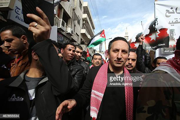 Jordanian parliament member Motaz Abu Rumman attends a protest staged against the killing of Jordanian pilot Moaz alKasasba by the Islamic State of...