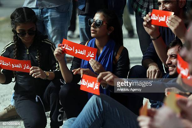 Jordanian people stage a protest against Natural gas agreement signed between Jordan and Israel in front of Statehouse in Amman Jordan on November 4...