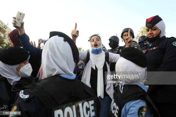 Jordanian police close the streets reaching to area of the prime minister's office known as the 4th circle on July 29 2020 in Amman Jordan Government...