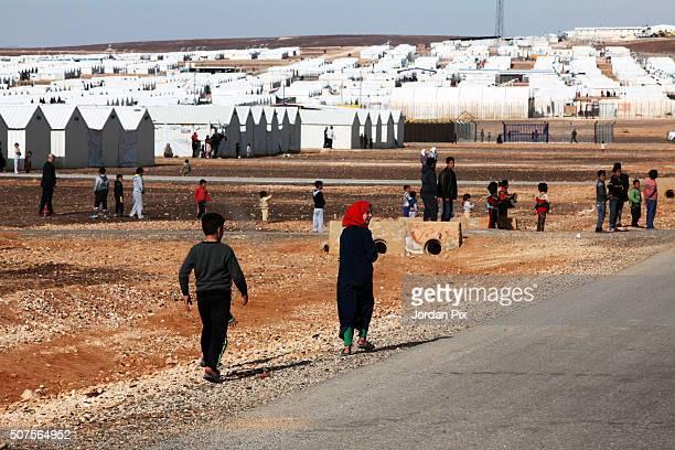 Jordanian prime minister Abdullah Ensour arrives at Al Azraq camp for Syrian refugees in eastern Jordan on January 30 2016