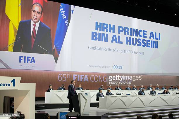 Jordanian Prince Ali bin al Hussein, FIFA vice president and Challenger to Joseph S. Blatter for the FIFA presidency, gives a speech during the 65th...