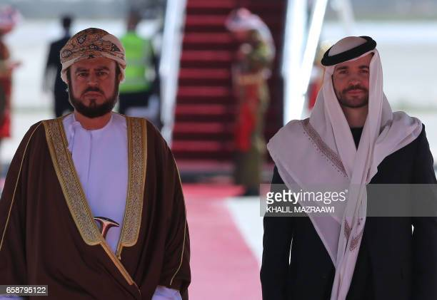 Jordanian Prince Hashem bin alHussein receives Omani Sayyid Taimur bin Asad bin Tariq alSaid the second cousin of the sultan of Oman upon his arrival...