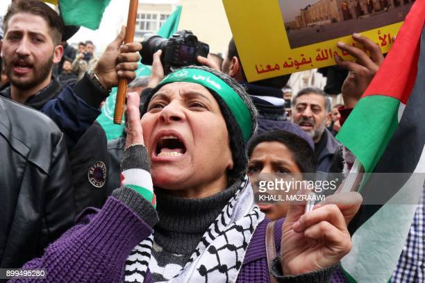 Jordanian protesters shout slogans during a demonstration against the US president's decision to recognise Jerusalem as the capital of Israel on...
