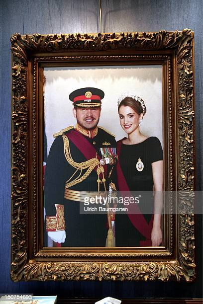 JORDAN AMMAN Jordanian royal couple in a picture frame