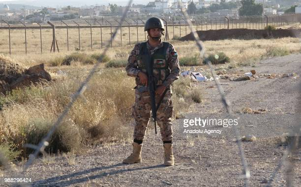 Jordanian soldiers take security measures as they do not let any Syrians to cross the border after Syrians fled from the ongoing military operations...