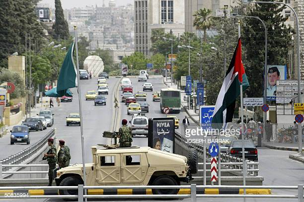 Jordanian special forces patrol the streets of Amman 14 May 2004 a day before the World Economic Forum conference starts in the Dead Sea The...