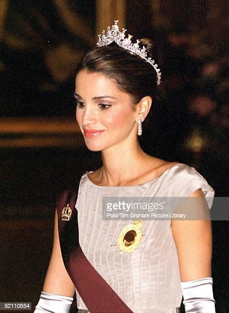 Jordanian State Visit Banquet At Windsor Castle Queen Rania Of The Hashemite Kingdom Of Jordan