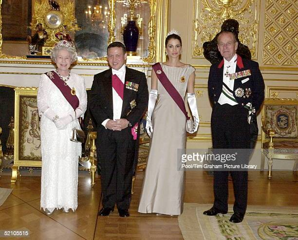 Jordanian State Visit Banquet At Windsor Castle The Queen And Prince Philip With King Abdullah II And Queen Rania Of The Hashemite Kingdom Of Jordan
