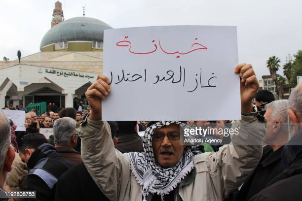 Jordanians stage a protest march to drop a gas purchasing agreement with Israel signed in 2016, in Amman, Jordan on January 10, 2020. The protest...