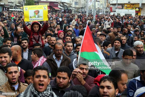 Jordanians take part in a demonstration against the US president's decision to recognise Jerusalem as the capital of Israel on December 29 in the...
