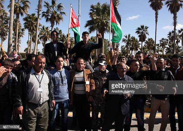 Jordanians welcome King Abdullah as he arrives at Aliya Airport 30 kilometers from the capital Amman Jordan on February 4 2015 He has cut his visit...