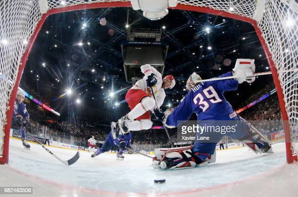 Jordann Perret of France reacts during the 2017 IIHF Ice Hockey World Championship game between France and Belarus at AccorHotels Arena on May 12...