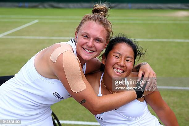 Jordanne Whiley of Great Britain and Yui Kamiji of Japan celebrate victory during the Ladies Doubles Wheelchait Final against Jiske Griffioen of The...