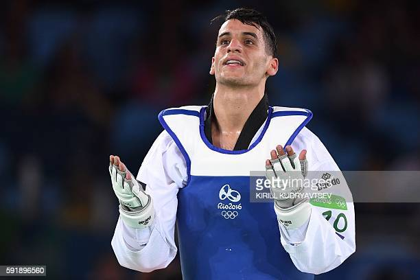 Jordan's Ahmad Abughaush celebrates after winning against Spain's Joel Gonzalez Bonilla in their men's taekwondo semifinal bout in the 68kg category...
