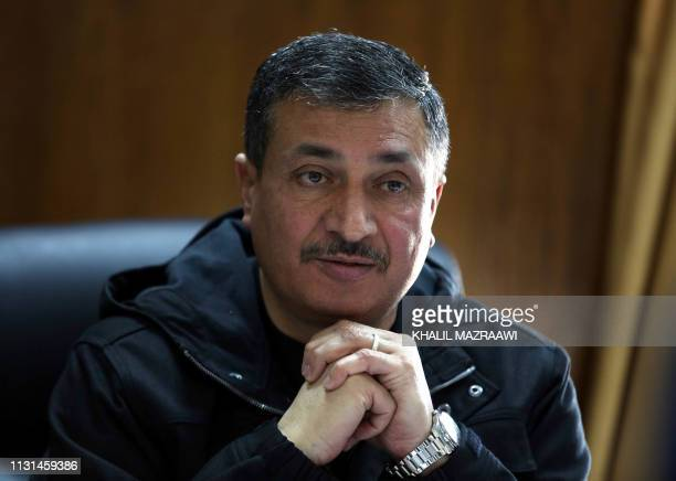 Jordan's Brig Anwar alTarawneh chief of the AntiNarcotics Department speaks during an interview at his office in the police antinarcotics unit...