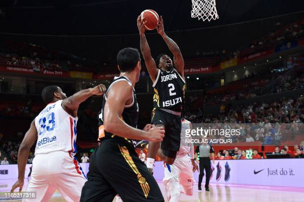 Jordan's Dar Tucker takes a shot during the Basketball World Cup Group G game between Dominican Republic and Jordan in Shenzhen on September 1 2019