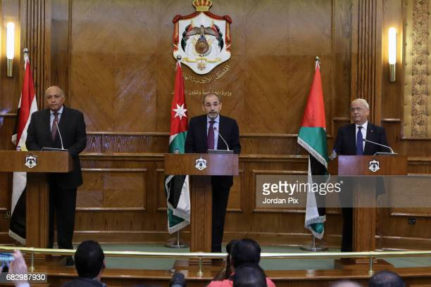 Jordan's foreign minister Ayman Al Safadi holds a press conference with his Egyptian counterpart, foreign minister Sameh Shokri and Palestinian lead...